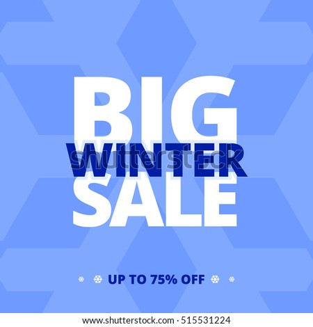 Big winter sale banner. Vector illustration in flat style.