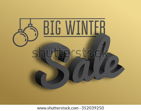Big winter sale. the 3D text on gold background. Vector illustration