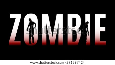 Big word zombie isolated on a black background - stock vector