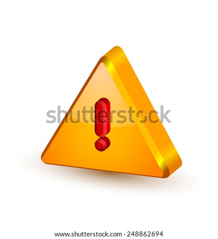 Big yellow and glossy security alert triangle symbol with red exclamation mark on white background - stock vector