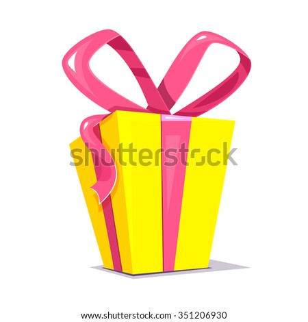 Big yellow gift box with a bright pink bow, holiday surprise, vector illustration - stock vector