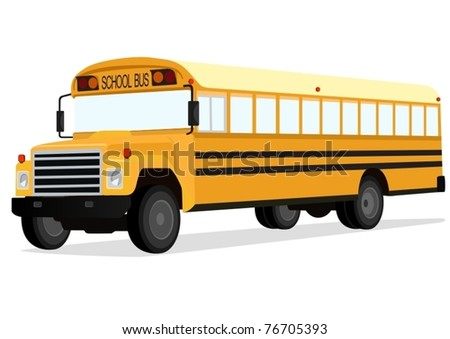 Big yellow school bus on a white background.