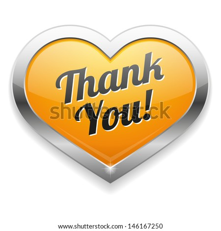 Big yellow thank yout heart button - stock vector