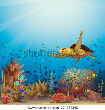 Big yellow turtle swimming over the coral reef in a blue ocean. Underwater vector. - stock vector