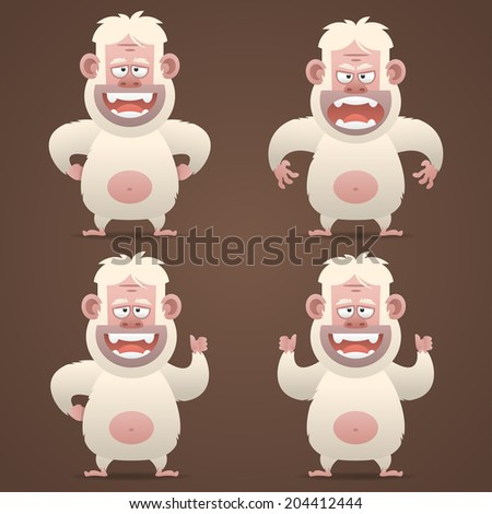 Bigfoot character in different poses - stock vector