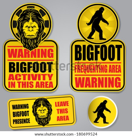 Bigfoot Warning Signs  - stock vector