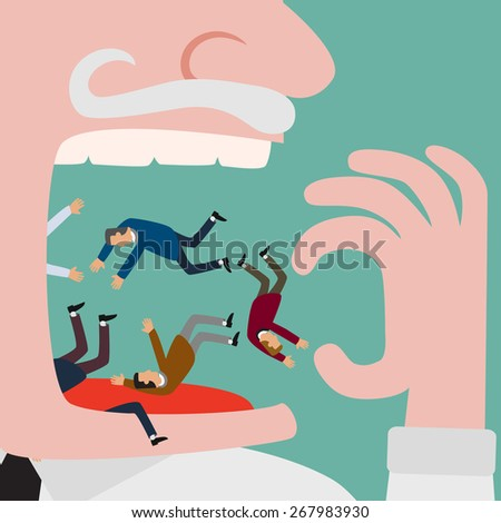 Bigger businessman eating a lot of small businessman group with no mercy - stock vector