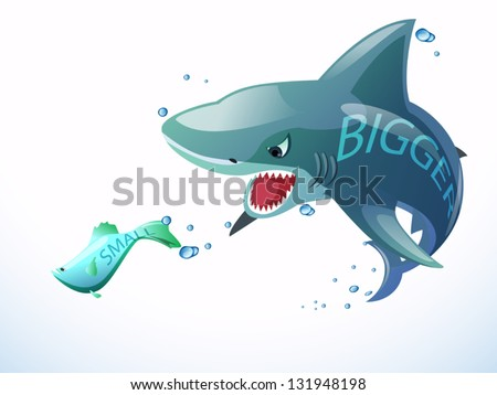 bigger shark eating small fish