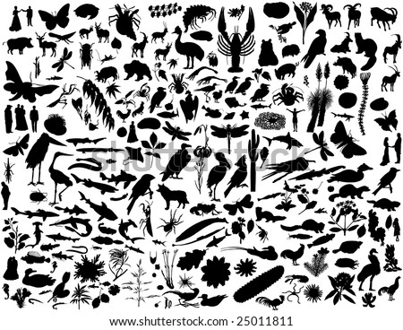 Biggest collection of collage vector illustration silhouettes - stock vector