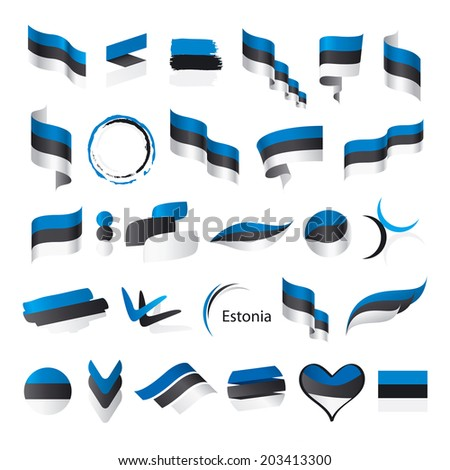 biggest collection of vector flags of Estonia   - stock vector