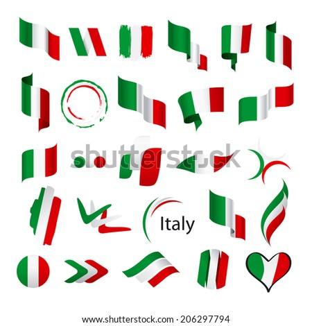 biggest collection of vector flags of Italy - stock vector