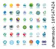 biggest collection of vector icons Globe - stock vector