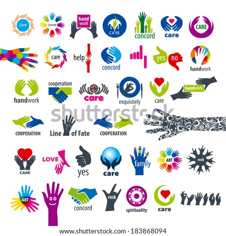 biggest collection of vector icons hands  - stock vector