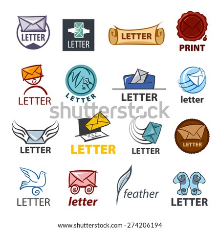 biggest collection of vector logo design delivery of letters - stock vector