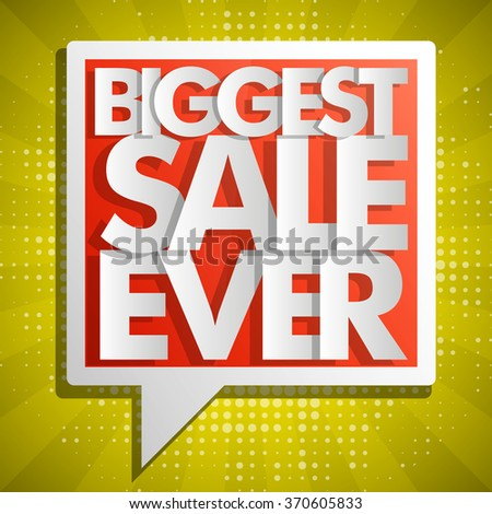 Biggest Sale Ever red balloons in pop-art style. Vector Illustration background