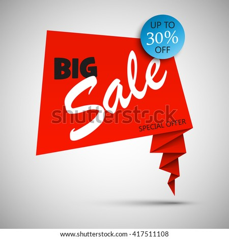Biggest Super Sale ever balloons banner in pop-art style. Paper style. Web vector template background. Up to 30% off. Advertising poster. Special Offer. End of season - stock vector