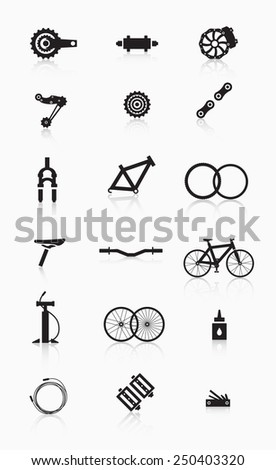 Bike accessories. A variety of bicycle parts and accessories. - stock vector
