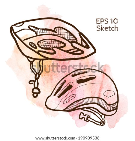 Bike accessories sketch modern simple light template on pink watercolor background - stock vector