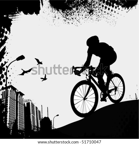 bike and city - stock vector