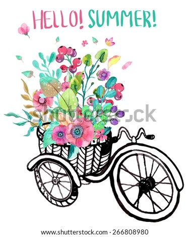 Bike and watercolor flowers, tricycle, Vector - stock vector