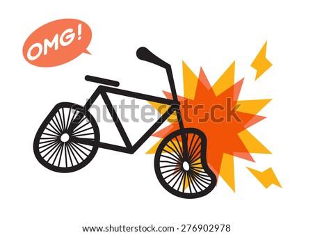 Bike crash accident vector - stock vector