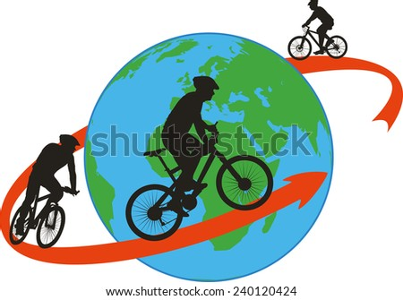 bike, cyclists - around the world - stock vector