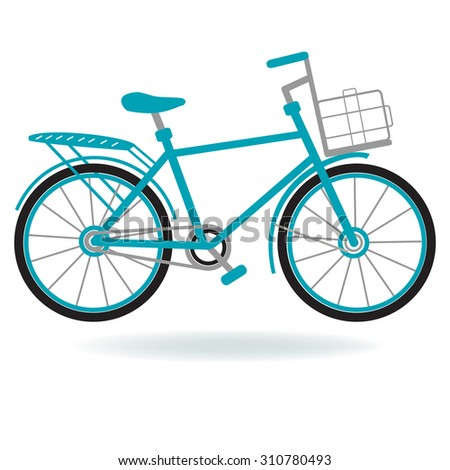 Bike for the city. Flat style. Black and blue bicycle on a white background.