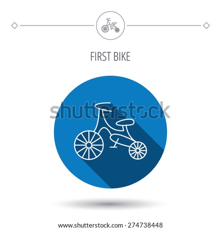 Bike icon. Kids run-bike sign. First bike transport symbol. Blue flat circle button. Linear icon with shadow. Vector - stock vector