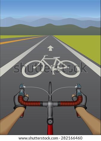 Bike Lane - stock vector