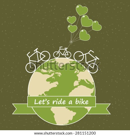 Bike on earth. Save world concept. Vector illustration.
