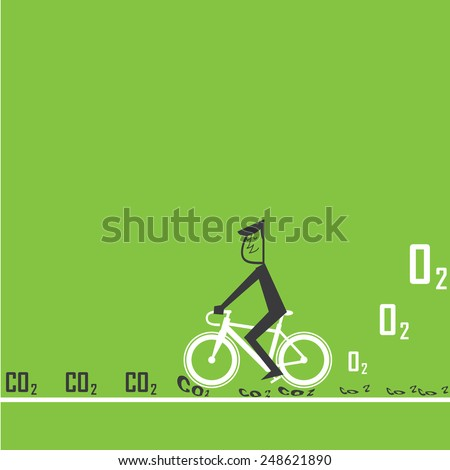 bike reduce CO2 - stock vector