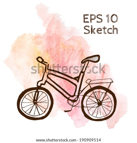 Bike sketch modern simple light template on pink watercolor background - stock vector