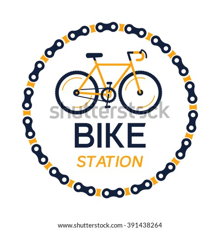 Bike station vector with the hipster style modern urban bike in the center of illustration. 100% vector easy to edit illustration.  - stock vector