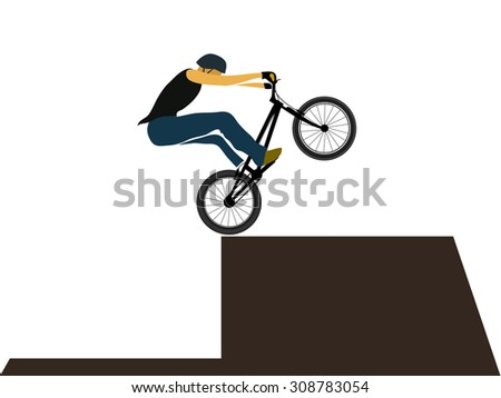 Bike trial rider jump on obstacle, extreme sport, vector illustration - stock vector