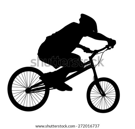 Bike trick detailed vector silhouettes. Sports design