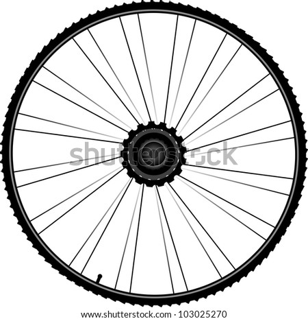 bike wheel with tire and spokes isolated on white background - stock vector