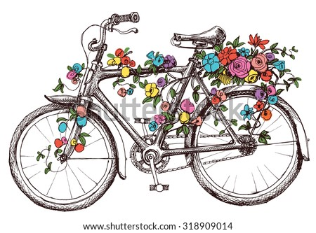 Bike with flowers, design element for wedding invitations or bridal shower - stock vector
