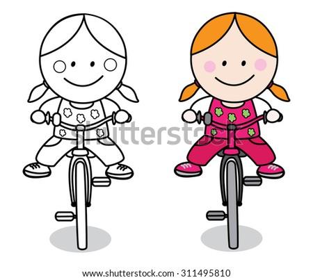 Biker girl - stock vector