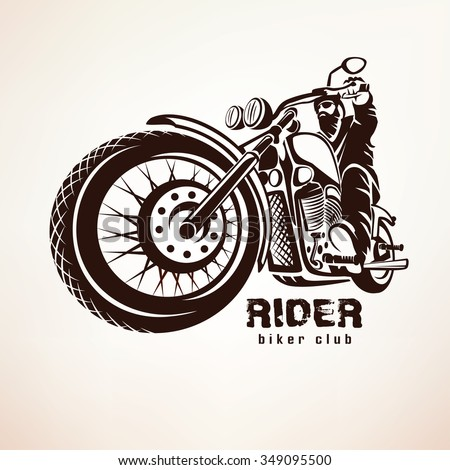 biker, motorcycle grunge vector silhouette, retro emblem and label - stock vector