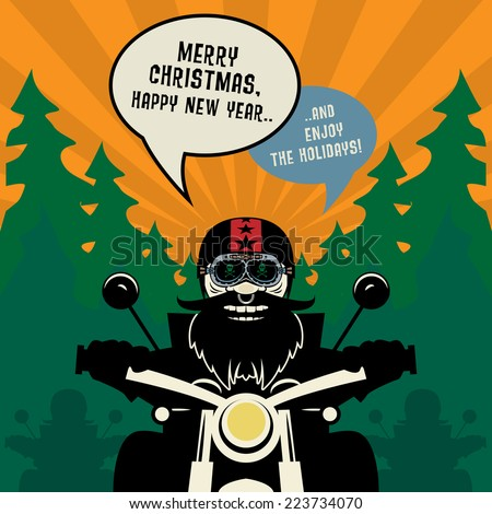 Biker New Year greeting card or poster, vector illustration - stock vector