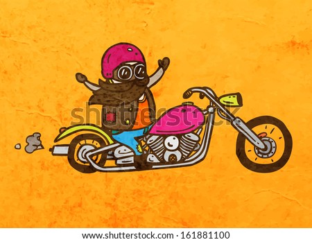 Biker on a Chopper Motorcycle. Cute Hand Drawn Vector illustration, Vintage Paper Texture Background