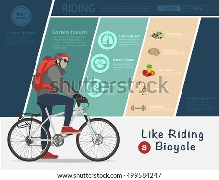 Biker riding on bicycle, Bike infographic banner design, Vector illustration modern layout template design