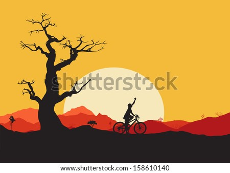 Biker Silhouette with mountains and sunset in the background - stock vector
