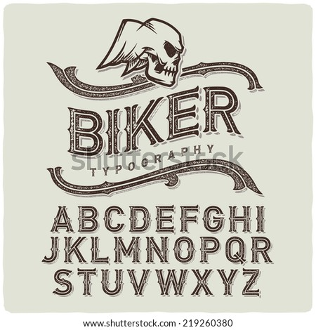 Biker style dirty letters alphabet with wings skull emblem. Light Background. - stock vector