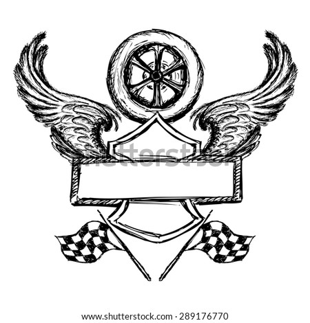 Biker Tattoo Emblem Hand Drawn Design Stock Vector