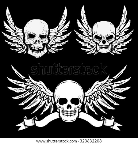 biker theme labels. skulls with wings.