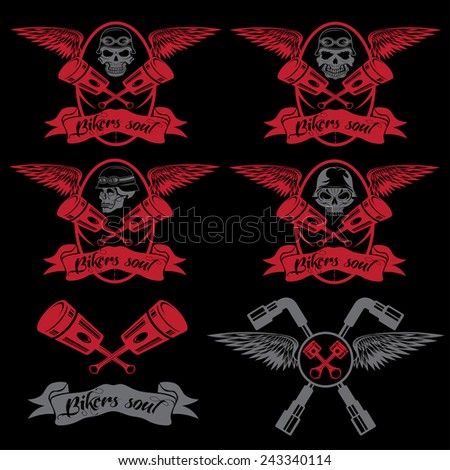 biker theme labels with pistons and skulls with wings - stock vector