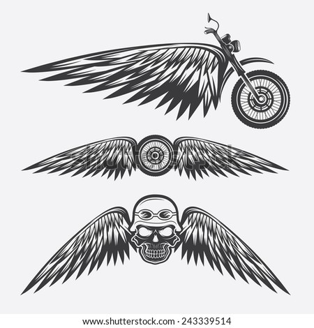 biker theme labels with wheel,bike and skulls with wings - stock vector