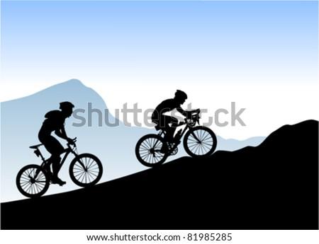 bikers - stock vector