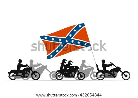 Bikers on motorcycles with confederate rebel flag - stock vector